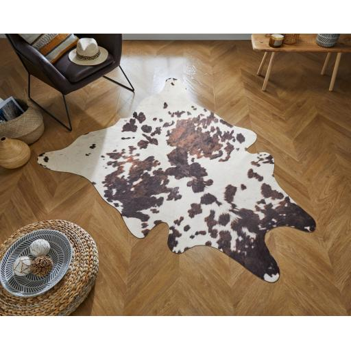 Faux Wild Animal Design Cow Print Skin Shaped Rug 155 x 195 cm