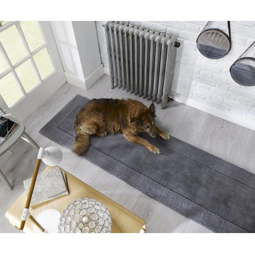 Tuscany Siena Wool Bordered Hallways Runners in Grey Natural and Ochre 60 x 230 cm (2'3''x7'7'')