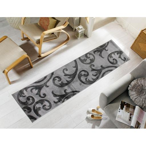 Hand Carved Elude Floral Damask Hallway Runner Rug in Grey/Grey