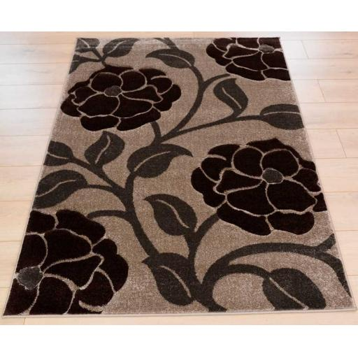 Hand Carved Vine Floral Large Rug in Beige/Brown 160 x 230 cm (5'3''x7'7'')
