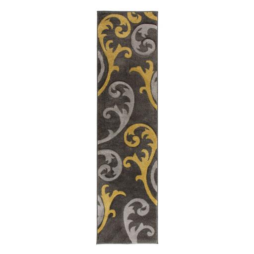 Hand Carved Elude Floral Damask Hallway Runner Rug in Ochre/Black
