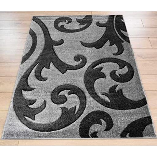 Hand Carved Elude Floral Damask Rug in Grey/Grey
