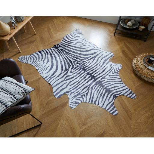 Faux Wild Animal Design Zebra Print Skin Shaped Rug 155 x 195 cm