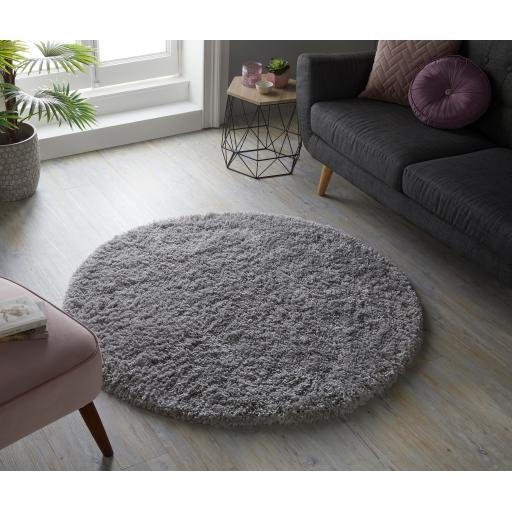 Brilliance Sparks Plain Shaggy Circle Round Rugs in Anthracite, Beige, Black, Blue, Grey, Pink, Brown Red 133 x 133 cm (5'2''x5'2'')