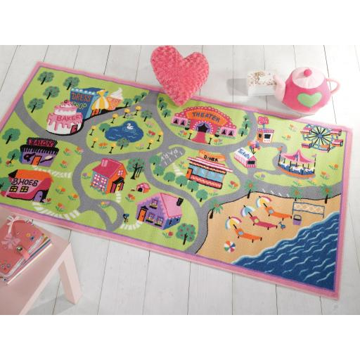 Matrix Kiddy Girls World Mat Children Nursery Rug in Multi