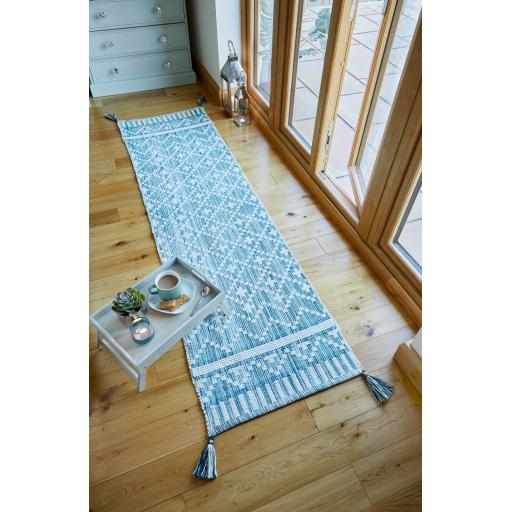 Leela Tasseled Recycle Hallway Runner Rug in Ivory Teal 60 x200 (2'x6'7'')