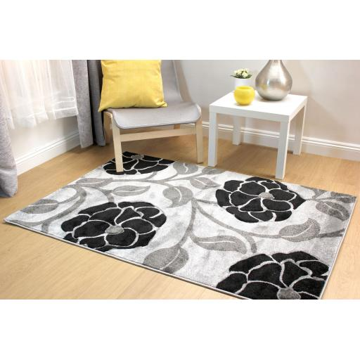 Hand Carved Vine Floral Large Rug in Grey/Black 200 x 290 cm (6'7''x9'6'')