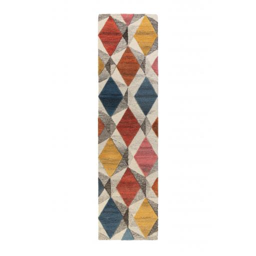 Moda Yara Multi 100% Wool Hallway Runner Rug in 60 x 230 cm (2'x7'7'')