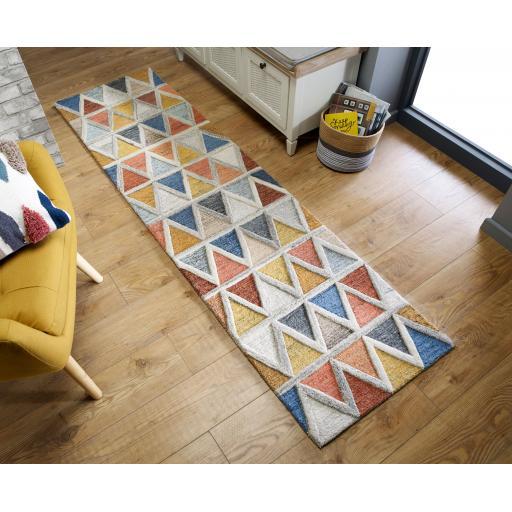 Moda Moretz Multi 100% Wool Hallway Runner Rug in 60 x230 cm (2'x7'7'')