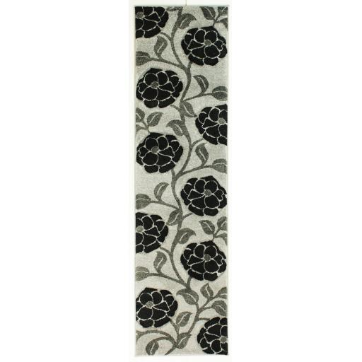 Hand Carved Vine Floral Hallway Runner Rug in Grey/Black 60 x 230 cm (2'x7'7'')