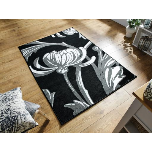 Element Prime Loretta Floral Rug in Grey / Black