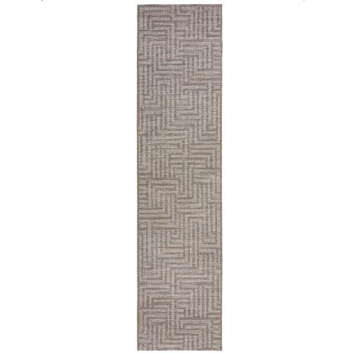 Lipari Salerno Flatweave Outdoor Indoor Geometric Hallway Runner Rug in Grey 60 x 230 cm (2'x7'7'')