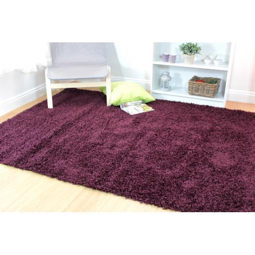 Nordic Cariboo Soft Shaggy Plain Rug in Purple 200 x 290 cm (6'7''x9'6'')