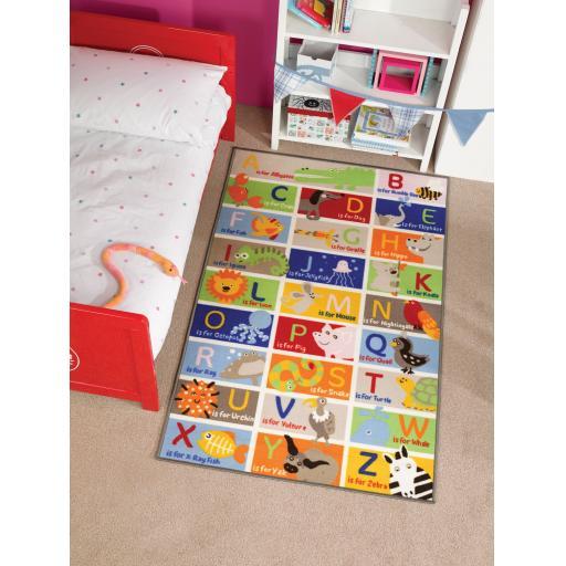 Matrix Kiddy ABC Alphabet Animals Mat Multi Kids Rug 160 x 240 cm (5'3''x8')