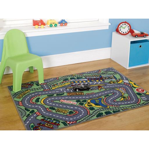 Matrix Kiddy Formula 1 Road Map Mats Kids Nursery Rug 160 x 240 cm (5'3''x8')