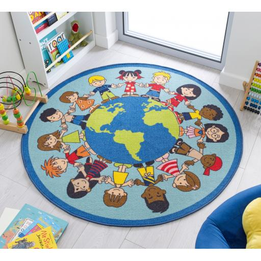 Matrix Kiddy Kids World Non-Slip Washable Mat Circle Rug in Multicolours