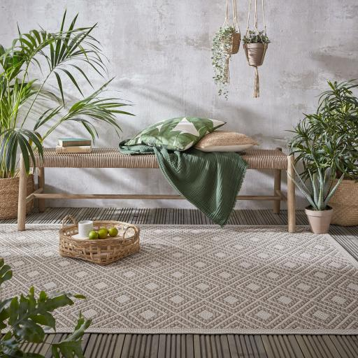 Varano Almada Traditional Border Design Outdoor Indoor Rug in Natural