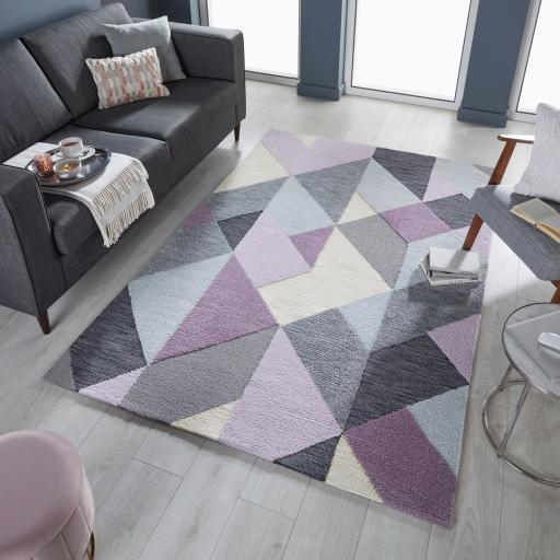 Zest Icon Geometric Rug in Blue, Mauve, Ochre and Terracotta