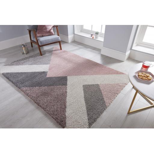 Dakari Zula Geometric Soft Shaggy Rug in Multi Pink