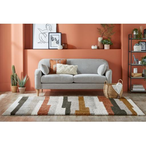 Dakari Deka Geometric Stripes Soft Shaggy Rug in Natural Multi