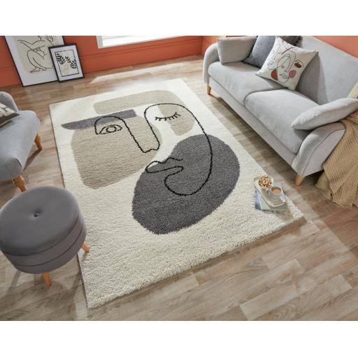 Dakari Beauty Art Paint Style Shaggy Rug in Natural
