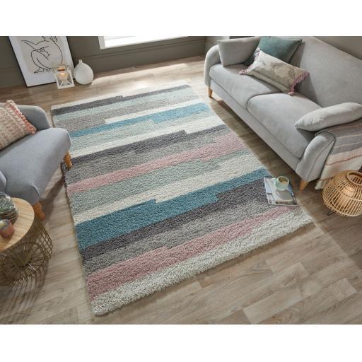 Dakari Deka Geometric Colourful Stripes Soft Shaggy Rug in Blue Multi