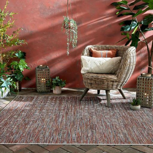 Larino Sunset Outdoor Indoor Rug in Terracotta Mix Colours