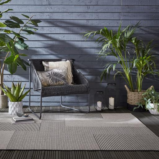 Basento Sorrento Blocks Modern Flatweave Outdoor Indoor Rug in Natural