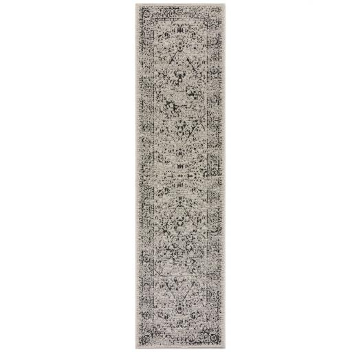 Varano Fuera Distressed Traditional Outdoor Indoor Hallway Runner Rug in Grey 60x230 cm (2'x7'7'')