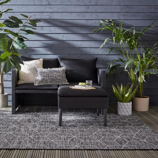 Lipari Napoli Flatweave Outdoor Indoor Geometric Rug in Black Grey