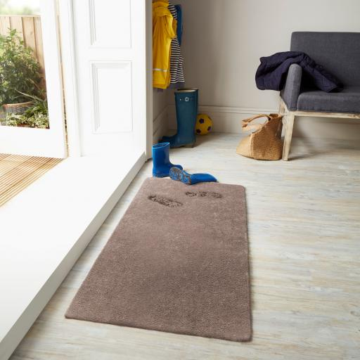 Washable Lavo Soft Shaggy Non-Slip Rug in Mink 80 x 120 cm (2'6''x4')
