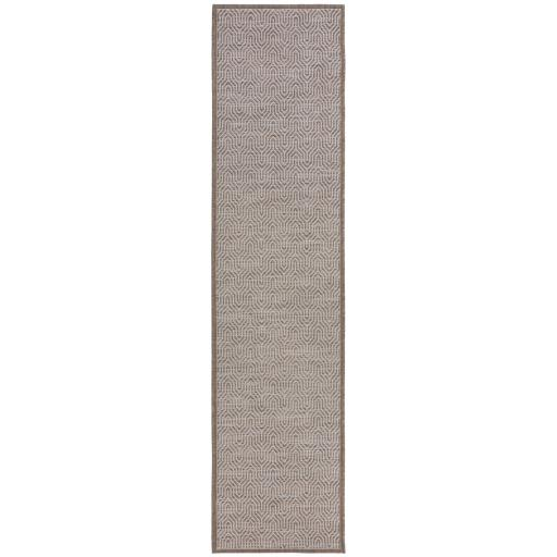 Lipari Bellizi Geometric Border Design Flatweave Outdoor Indoor Hallway Runner Rug in Grey 60 x 230 cm (2'x7'7'')