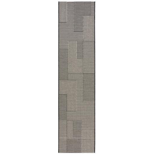 Basento Sorrento Blocks Modern Flatweave Outdoor Indoor Hallway Runner Rug in Natural 60 x 230 cm (2'x7'7'')