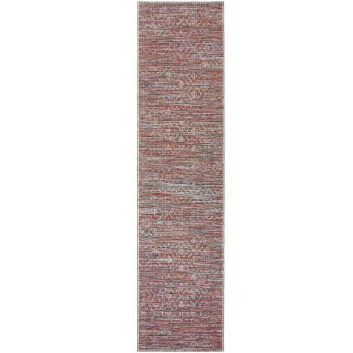 Larino Sunset Outdoor Indoor Hallway Runner Rug in Terracotta Mix Colours 60x 230 cm (2'x7'7'')