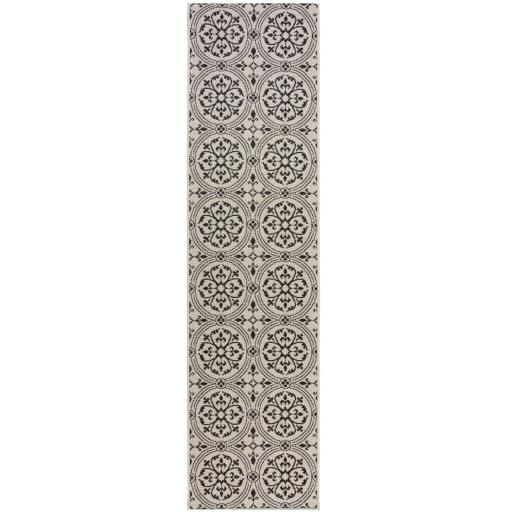 Varano Casablanca Vintage Ceramic Design Outdoor & Indoor Hallway Runner Rug in Monochrome 60x 230 cm (2'x7'7'')