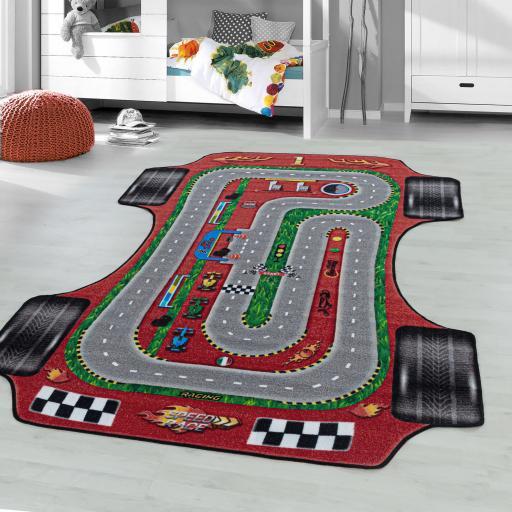 Kids Play Game Nursery Non-Slip Mat Formula 1 Racing Car Road Rug in Red