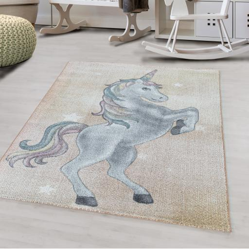 Funny Kids Nursery Unicorn Soft Rug in Purple Violet, Yellow and Grey