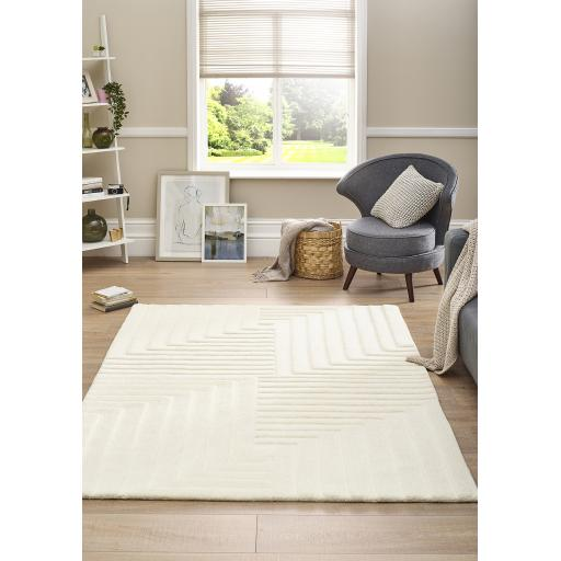 Modern Origins Linear 3D 100% Pure Wool Hand Tufted Rug in Ochre, Olive, Cream, Grey and Blue