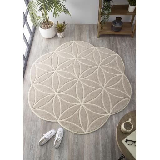 Bloom Handmade Geometric Abstract 100% Pure Wool Hand Tufted Circle Rug in Blush Pink, Green, Grey and Ochre