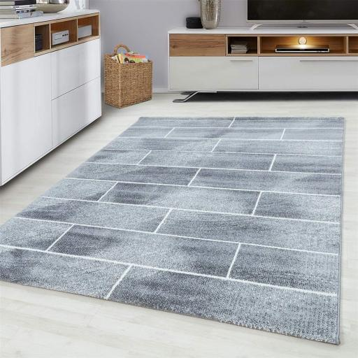 Modern Geometric Brick Wall Pattern Design Grey Rug