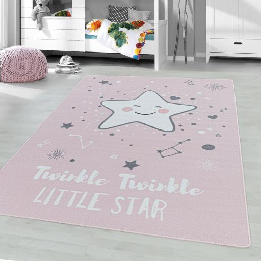 Play Game Kids Twinkle Little Star Nursery Non-Slip Mat Rug in Blue, Pink and Grey