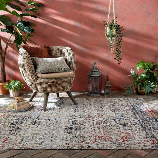 Manor Helena Vintage Traditional Distressed Design Outdoor and Indoor Rug in Multi