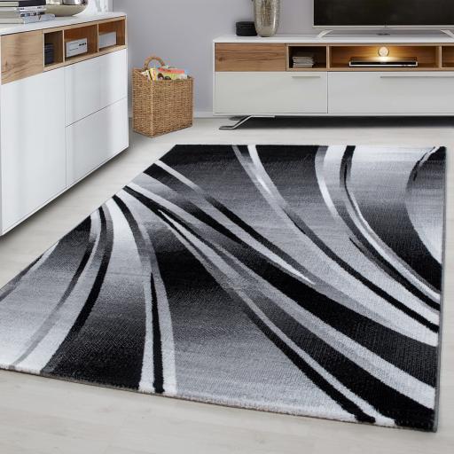 Parma Wave Design Black Grey Rug