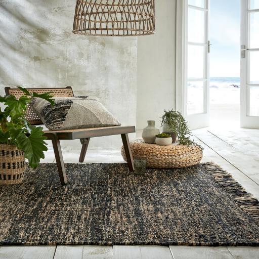 Idris Jute Wool Quality Black Natural Handwoven Tasseled Rug Hallway Runner
