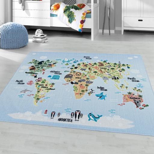 Play Kids Anti-Slip Mat Geography World Map Rug in Blue