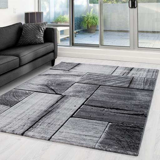 Parma Modern 3D Geometric Blocks Black Grey Rug