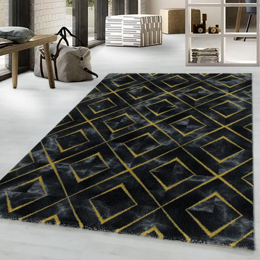 Naxos Modern Marble Like Design Gold Silver Rug in Black and White