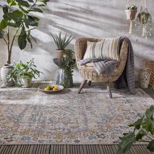 Manor Louisa Vintage Traditional Distressed Design Outdoor and Indoor Rug in Ochre Grey Multi