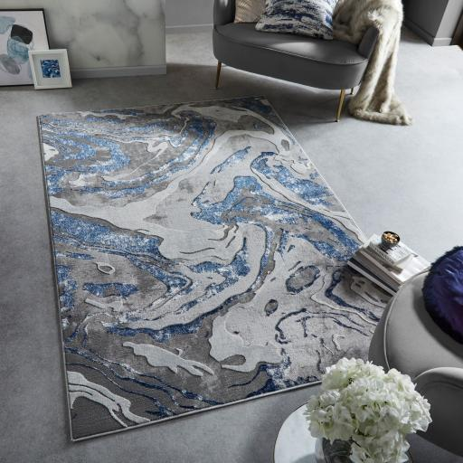 Eris Marbled Modern Abstract Metallic Silver, Natural, Navy, Blush Pink and Emerald Rugs & Runners