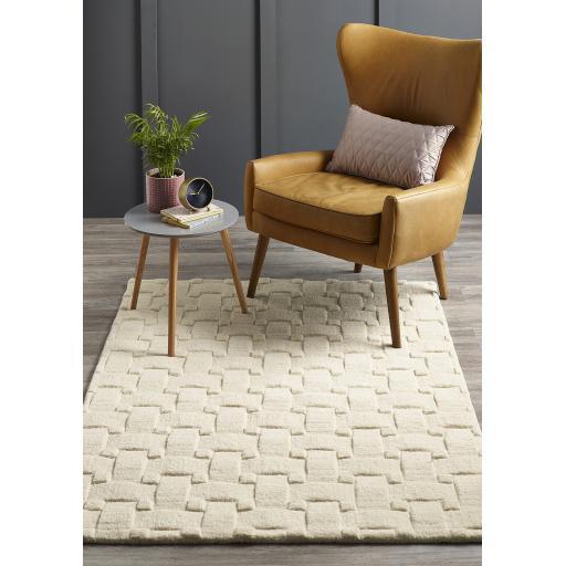 Origins Basketweave 3D Geometric Handmade Wool Rug in Ivory